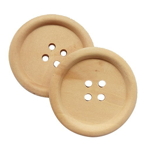 """Chenkou Craft 30pcs 40mm 1 1/2"""" Round Natural Wood Buttons 4 Holes Craft Sewing Button (40mm)"""