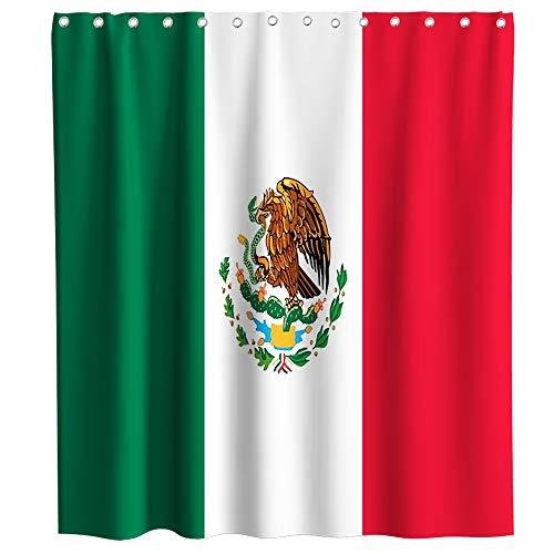 Mexikanische Flagge Duschvorhang braun Mexiko Adler Thema Stoff Badezimmer Dekor Sets mit Haken wasserdicht waschbar 183 x 183 cm grün rot & weiß