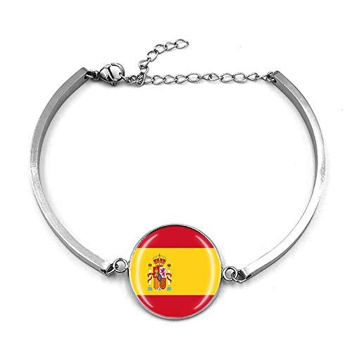 Pulsera de la bandera de España Cadena de Metal Pulsera de Cristal de Recuerdo, Pulsera de Acero Inoxidable para Hombre y Mujer Regalo Especial del Día