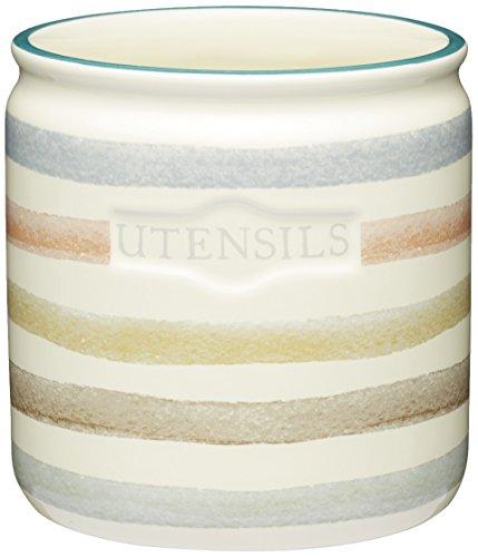 Kitchencraft Classic de rayas de cerámica soporte para utensilios de cocina, color crema
