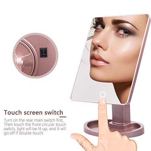 Espejo de maquillaje iluminado con luz de escritorio de maquillaje espejo de tocador con luz de 22 LED pantalla táctil exquisita blanca