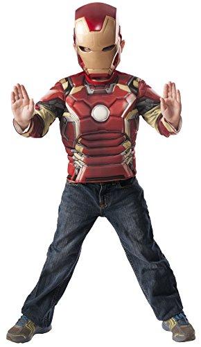 Avengers–Iron Man Age Of Ultron, addominali petto e maschera di costume per bambini, Rubie  s 31479)