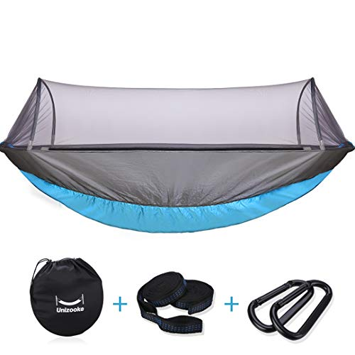 Unizooke Single & Double Hammock with Mosquito Net, Portable Double Camping Adjustable Hammocks, Lightweight for Hiking, Travel, Backpacking, Beach, Yard Gear with Tree Strap