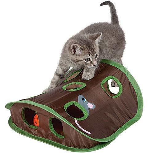 Z-PET Haustier-Katze-Spielzeug Interactive Verstecken Spielen Suchvorgang Spiel Tunnel Mäusejagd Intelligenz Versteckte Loch Katzenbedarf 9 Löcher for Kätzchen