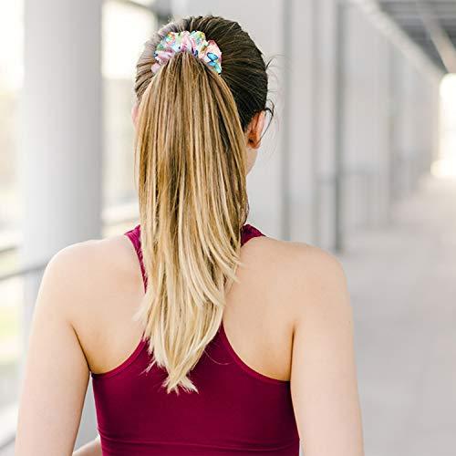 PANTIDE 6Pcs VSCO Hair Scrunchies VSCO Starter Stuff VSCO Designed Pattern Hair Scrunchies, Colorful Polyester Pongee Ponytail Holder, Elastic Hair Ties Ropes Hair Accessories for Women Girls 2
