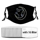 Sail-or Cat Luna Moon Face mask Reusable Washable Bandana Scarf 16pcs Filters Adjustable Earloop Children Men Women Adults