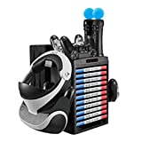 SN-RIGGOR Multifunction Vertical Stand with Cooling Fan Game Discs Orainzer Mounts & Dual Controller Charger/ PS VR Controller PS Move Charger for PS4 Slim/PS4 Pro/Regular PS4