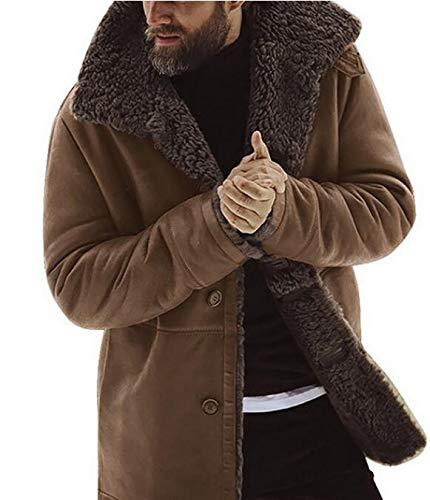 CoolTing M-XXXL Wintermantel Männer verdicken warme Fleecejacke Weste Homme Parkas Vintage-Outwear Windjacke,Braun,M