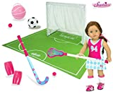 Sophia's Doll Soccer, Basketball, Lacrosse, Field Hockey, Net and Field for 18 Inch Dolls or Plush   Complete Sports Set Includes Shin Guards   Doll Not Included