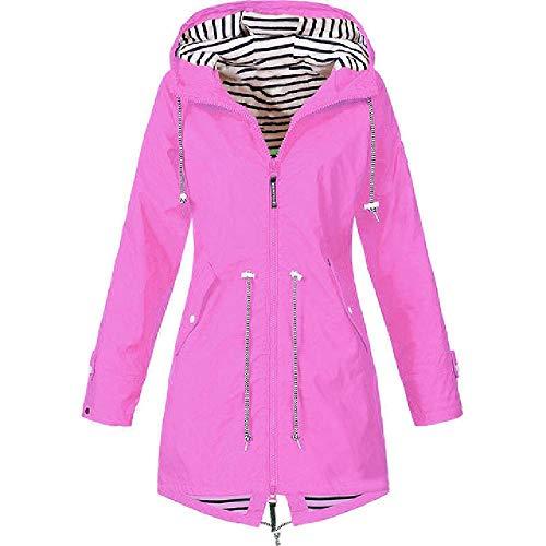 nobrand Leichte Damenjacke für Damen wasserdichte Jacke mit Kapuze Outdoor-Wanderjacke Lange Jacke Windjacke S-5XL