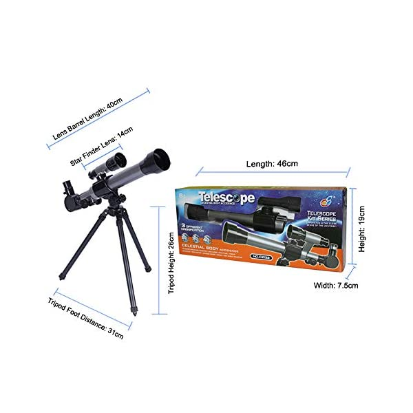 ALEENFOON Kids Telescopes, 20X-30X-40X Adjustable Childrens Science Astronomical Telescope for Kids Beginners Astronomy Stargazing, with Tripod Eyepieces Compass Star Finder Lens Toy Set