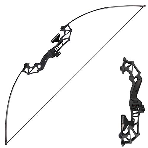 TOPARCHERY Archery Takedown Recurve Bow Hunting Long Bow Set Alloy Riser - Right Hand Black - Draw...