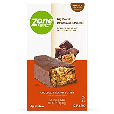 ZonePerfect Protein Bars, Chocolate Peanut Butter, 14g of Protein, Nutrition Bars With Vitamins & Minerals, Great Taste Guaranteed, 36 Bars