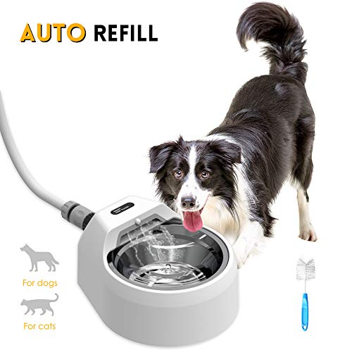MalsiPree 【Remember to Add Hose in Cart】 Automatic Dog Water Bowl Dispenser, Cat Drinking Fountain, Intelligent Motion Sensor for Refilling, Metal Hose Best for Small to Large Breeds