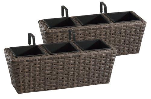 Gartenfreude Jardinières en résine tressée avec Support et Trois Compartiments en Plastique, de Couleur Cappuccino, 2 pièces, 47 x 17 x 15 cm