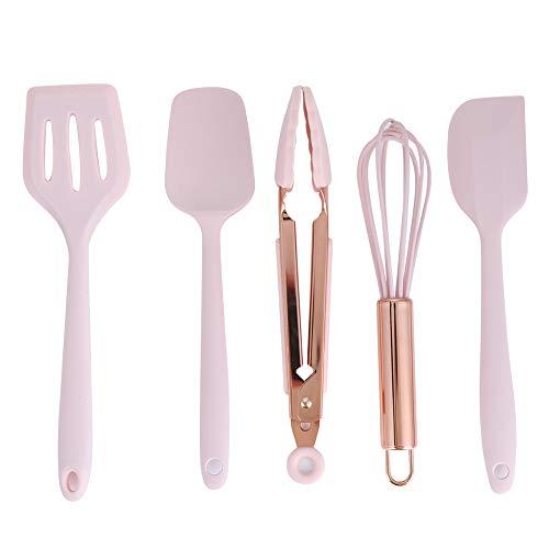 5pcs utensili da cucina in silicone mini spatola da forno frusta con manico in oro rosa strumento di cottura per bambini in silicone