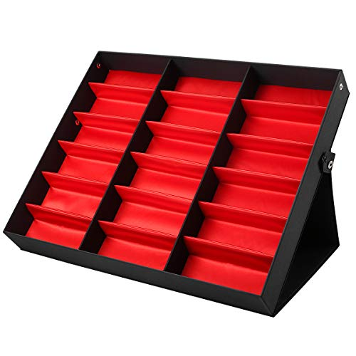 WINOMO サングラス収納ケース ボックス サングラススタンド ホルダー 眼鏡ボックス 折りたたみ 18グリッド