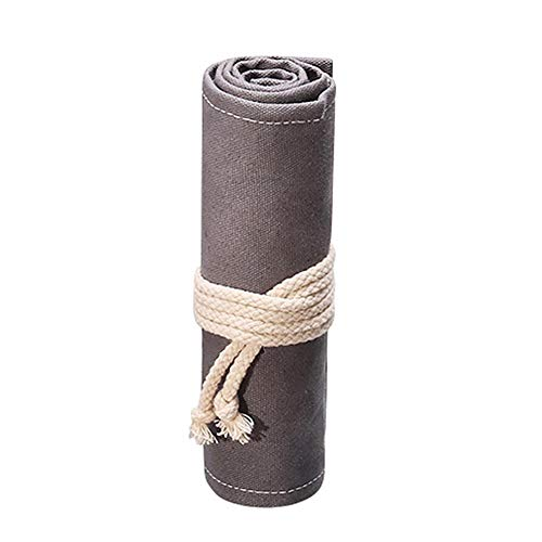 WCHOG Japanse Stijl Grijs Katoen Linnen Canvas Pen Gordijn Grote Volume Potlood Case Houder Organizer Stationery Opbergtas Tool Bag, 1 PCS (12 Gaten), 23cm * 20cm 46*20CM