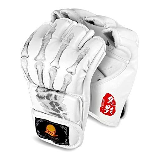 GranVela MMA Handschuhe, ZOOBOO Halb-Finger Handschuhe für Boxtraining, Boxhandschuhe mit verstellbarem Handgelenk-Band für Kickboxen, Sparring, Muay Thai, Sack. Einheitsgröße, passend für die meisten Personen., Z851118, weiß