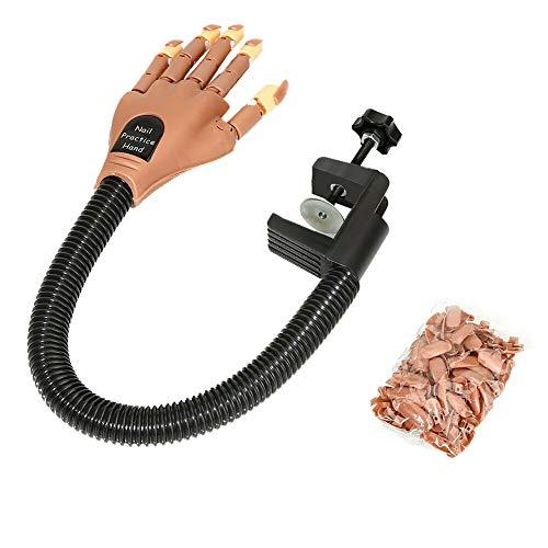CVERY Nail Trainning Practice Hand, réglable Mobile Faux Faux modèle de Main avec 100 pcs Conseils d'ongles pour manucure Nail Art Maquillage Bricolage Impression d'apprentissage
