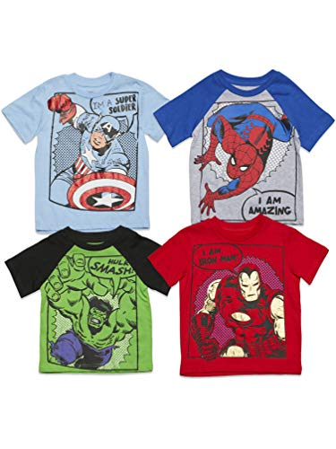 Marvel Avengers Captain America Iron Man Spiderman Hulk Toddler Boys 4 Pack T-Shirt 2T