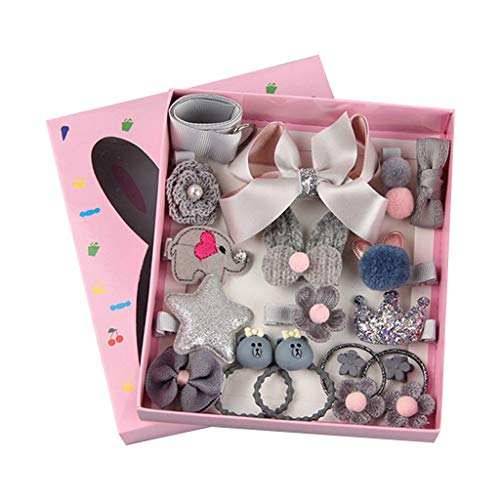 niumanery 18Pcs/Set Kids Child Hair Rope Clips Barrettes Princess Girls Crown Bowknot Candy Color Headwear Sequins Headdress with Gift Box