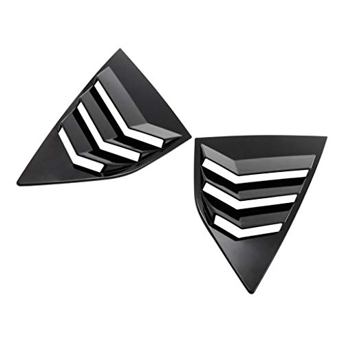 MAGIDEAL 2PCS GLOSS BLACK ABS WINDOW SIDE LOUVERS VENT FOR FORD FOCUS ST RS MK3 12-18