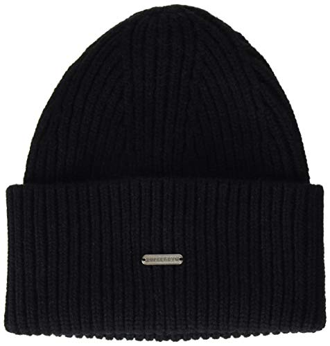 Superdry Mens Premium Ribbed Beanie Hat, Black, Einheitsgröße