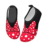 Fashion Kawaii Red Bow Polka Dot Water Shoes for Boys and Girls, Kid Quick Dry Non-Slip Water Skin Barefoot Sports Shoes Aqua Socks for Beach Swim Surf Yoga Exercise 9/10.5, Little Kid