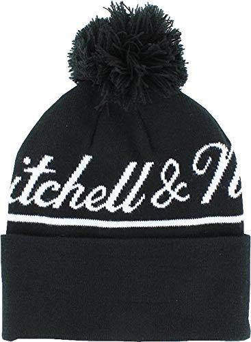 Mitchell & Ness Beanie Intil533 Jacquard Script Schwarz Weiß, Size:ONE Size