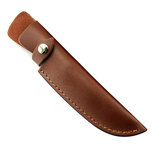 BETTERLE Brown Leather Fixed Blade Knife Sheath Belt Loop Case Holder Pouch Bag - Hunting Knives Leather Sheath Universal Knife Edge Guard (#1-L)