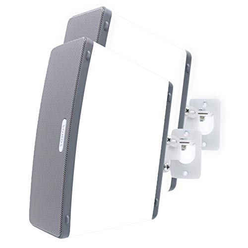 2 x SONOS Play 3 Wall Mount, Twin Pack, Adjustable Swivel & Tilt Mechanism, 2 Brackets for Play:3 Speaker with Mounting Accessories, White, Designed in The UK by Soundbass