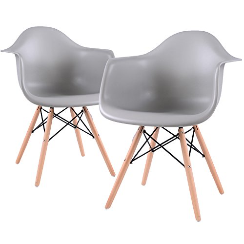 EGGREE Lot von 2 Esszimmerstuhl, Retro Stuhl Beistelltisch mit solide Buchenholz Bein - Grau