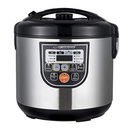 ESPERANZA COOKING MATE Multicooker 5.0l | 11 Kochprogramme |,Schongarer, Dampfgarer, Slow Cooker, Reiskocher, Joghurtbereiter etc. | Anti-Kondensations-Deckel | digitales Display + Timer