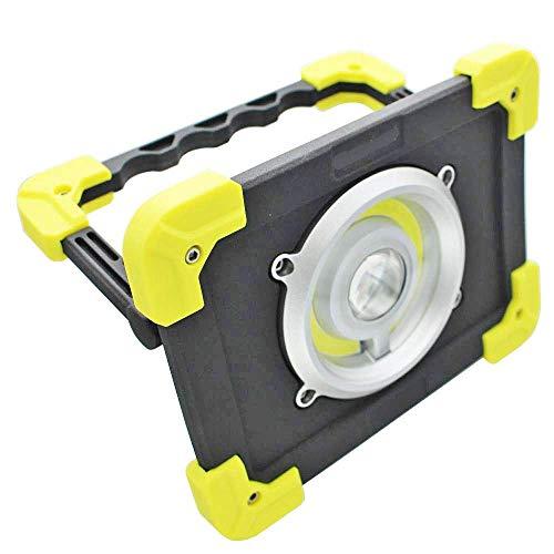 Maximus LED (20 W, luz pie, 1200 lúmenes de Salida y 160 Distancia de Haz: Linterna de Trabajo Recargable por USB, Negro/Amarillo