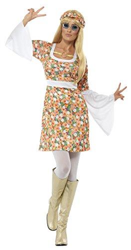 Smiffys, Damen Flower Power Kostüm, Kleid und Haarband, Größe: S, 23706