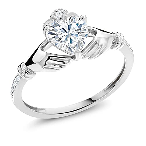 10K White Gold Created Moissanite by Gem Stone King and Diamond Women Solitaire Irish Celtic Claddagh Heart Shape Ring (0.86 Cttw, Available in Size 5,6,7,8,9)
