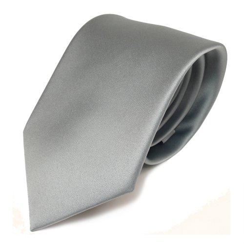 TigerTie Designer Satin Krawatte in grau hellgrau silber einfarbig uni