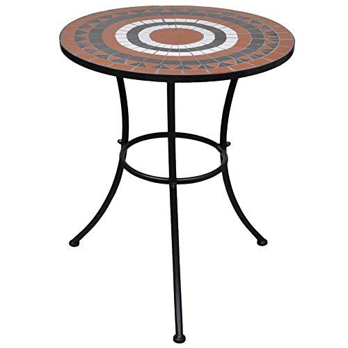 AYNEFY mesa de mosaico 60 cm, mesa de bistrot terracota y blanco 60 cm en mosaico