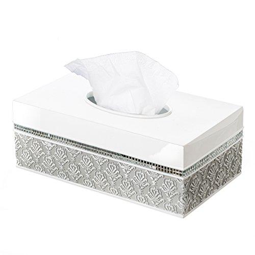 Creative Scents Mirror Damask Rectangle Tissue Box Cover, Decorative Bathroom Tissues Paper Napkin Holder, Bottom Slider (Gray & White)