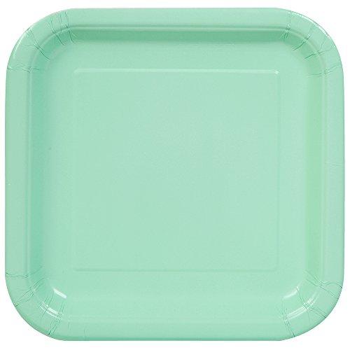 Unique Party- Paquete de 16 platos cuadrados de papel, Color verde menta, 18 cm (99274)