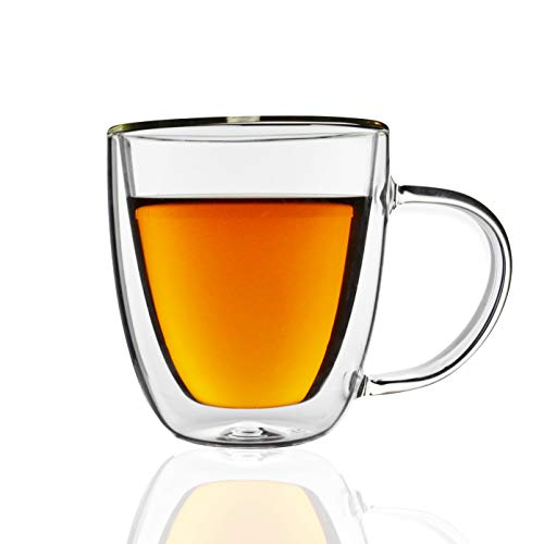 Glass Espresso Cups-Double Walled Glass Coffee Mugs Set of 2 with Handle, Gift Box Set, 6.5 oz Glass Coffee Mugs- Dishwasher & Microwave Safe