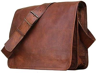 Sacoche Besace en Cuir Sacoche Ordinateur Portable, Cartable, Sac à bandoulière véritable à bandoulière (16X12X4)
