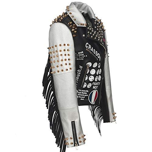 TrusMe Frauen-Schwarz-Weiß Faux-Lederjacke Flagge Street Zipper Rivet Fashion Blogger Hit Farbe Graffiti Punk Jacken Frau Jacken Outwear,Schwarz,L