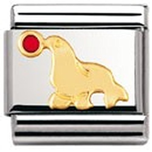 Nomination Composable Classic Tiere - Wasser Edelstahl, Email und 18K-Gold (Robbe) 030213