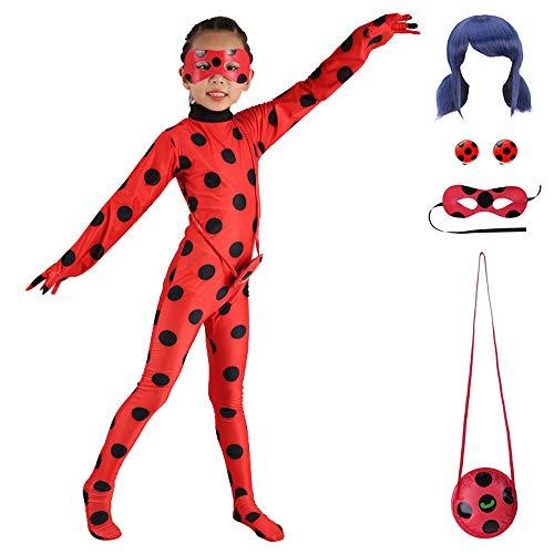 ALBRIGHT Kids Festlich Jumpsuit Ladybug Marienkäfer Cosplay Kostüm für Mädchen (Gr.122/128), Party Halloween Karneval Weihnachten Fasching Kostüm (Jumpsuit, Maske, Tasche Ohrclip, Perücke)