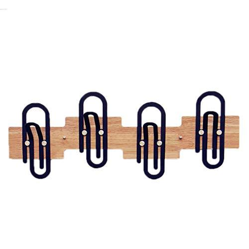 47-B Clip de papel creativo gancho para puerta de hierro forjado, sin pegamento, para colgar en la puerta, perchero de madera