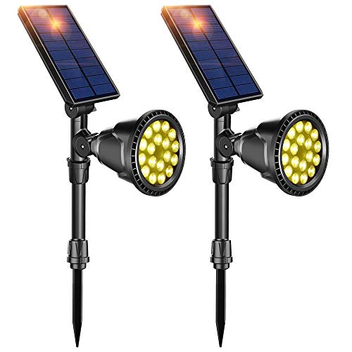 DBF Solar Lights Outdoor, Latest 18 LED Waterproof Solar Spotlights Solar Landscape Lights Auto On/Off Wall Light Landscape Lighting for Garden Yard Pathway Driveway Pool, Pack of 2 (Warm White)