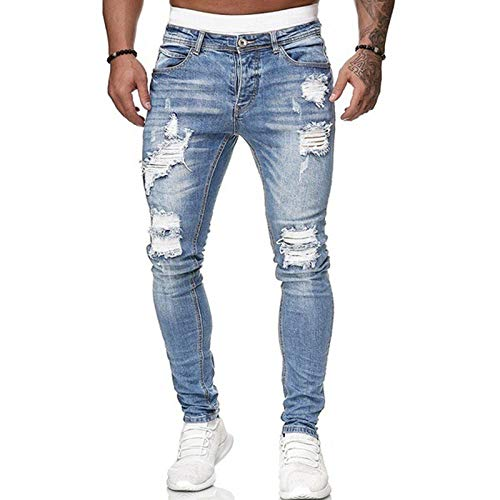 Loalirando Vaqueros Rasgados de Hombre Jeans Rotos Slim Fit Pantalones Skinny de Denim Pantalones Hombre Casual de Mezclilla Pantalón Largo Hombre Vaqueros Ajustados (Azul Claro, L)