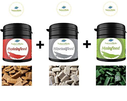 NatureHolic Futter Paket Mainfeed - Minerafeed - Proteinfeed 3x30 g Garnelenfutter Aquarium Schnecken Krebse Rundum Sorglos Paket!